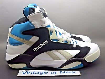 f5a2e7bea042 MEN S REEBOK SHAQ Attaq White Azure Blue Orlando Magic sz 9.5 ...