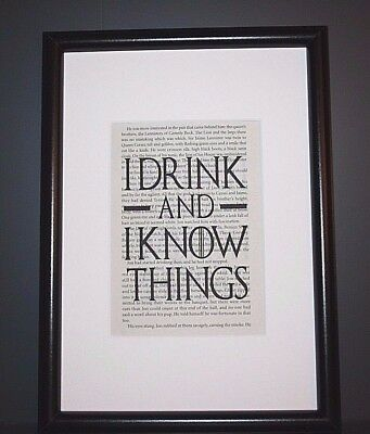 Book Page Wall Art Print - Game Of Thrones -Tyrion Lannister Quote- Picture Gift