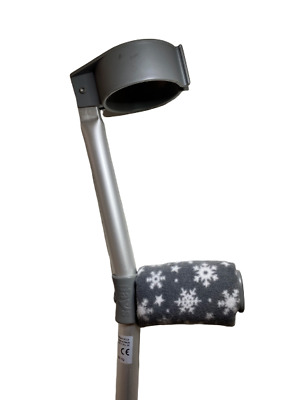 Crutch Handle Padded Covers HIGH QUALITY Cushioned Foam Pad  - Grey Snowflake