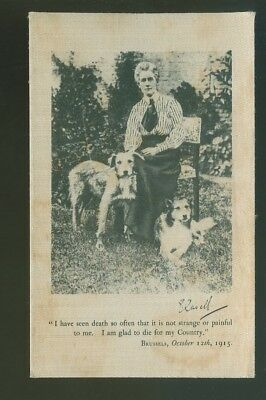 Silk Postcard Edith Cavell With Dogs
