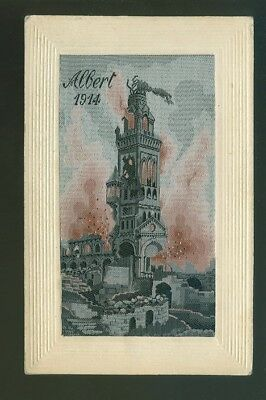 Silk Postcard Albert 1914 Bomb Damage