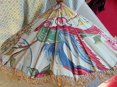 VINTAGE c1930s Beige Red Green Parasol w/ Floral Tropical Pattern Wooden Handle