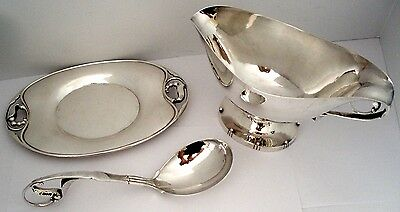 Georg Jensen Peapod Pattern 177 & 177A Sterling Gravy Boat, Under Tray And Ladle