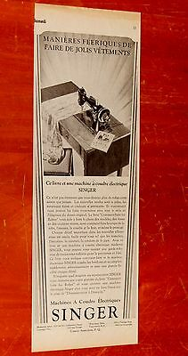 French 1930 Singer Sewing Machines Canadian Ad - Vintage 1930S Retro 30S