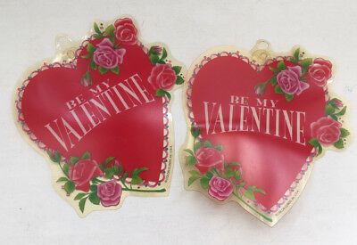 vintage  two be my valentine hearts  color clings with suction cups window decor