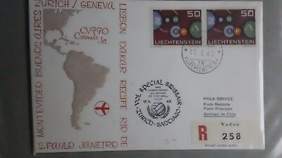 Liechtenstein special flight fdc World Cup Chile 17.5.1962