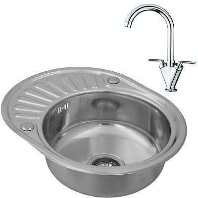 ENKI Compact Single Bowl Inset Round Stainless Steel Kitchen Sink Taps Drainer