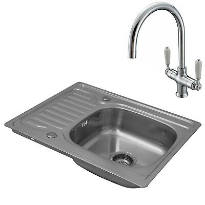 ENKI Single Bowl Inset Square Stainless Steel Kitchen Sink Drainer & Classic Tap