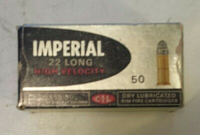 """Vintage Canadian """"imperial 22 Long Shells High Velocity"""" Cardboard Box - Empty"""