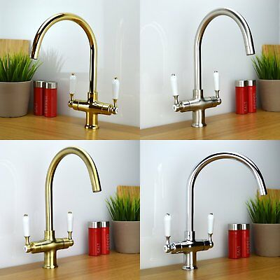 ENKI Traditional Victorian Twin White Lever Kitchen Sink Mixer Tap COLOGNE