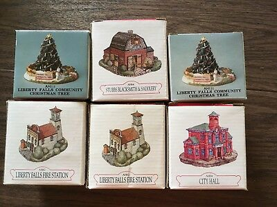 Vintage Liberty Falls Village The Americana Collection LOT Of 6 New in Box