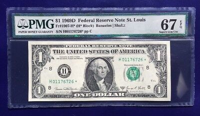 1969-D $1 Federal Reserve Note frn UNC H-STAR PMG GEM 67 EPQ