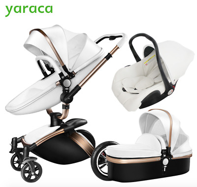 Luxury Baby Stroller 3 in 1 Car Seat, High View Pram, Folding Baby Carriage