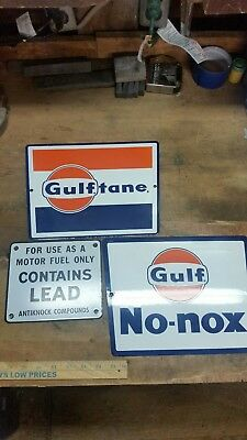 Gulf Porcelain gas pump signs set of 3. Gulf tane, no nox, contains lead warning