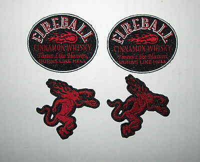 Lot of 4 Fireball Cinnamon Whisky Whiskey Iron On Patches