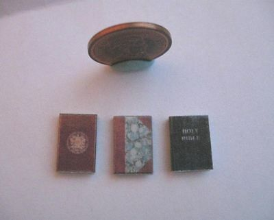 3 x DOLLHOUSE MINIATURE BOOKS BOOK JOURNALS HOLY BIBLE 1:12 SCALE