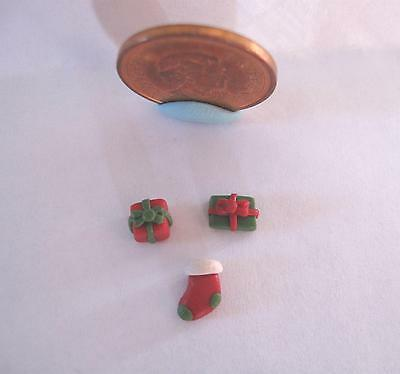 "Dollhouse Miniature Christmas Gifts Presents Stocking 1/4"" 1:48 Or 1:24 Scale"