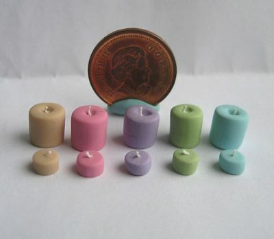 10 x DOLLHOUSE MINIATURE VOTIVE & TEALIGHT CANDLES CANDLE SET 1:24 OR 1:12 SCALE