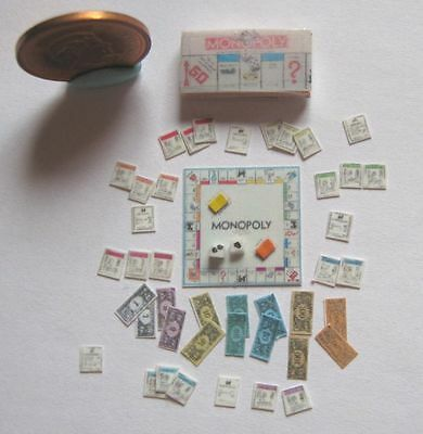Dollhouse Miniature Monopoly Game Set 1:24 Scale