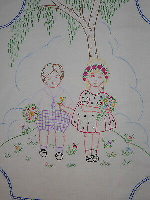 Early Child's Embroidered Hanging Bed Cover Lg. Embroidered Boy & Girl w Flowers