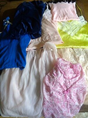 Good Sized Job Lot of Vintage slips babydoll 8 Items nylon  (J56)
