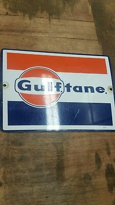 Gulf Tane porcelain sign antique