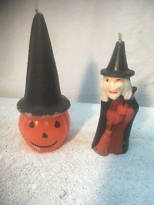 Pair of Large Vintage Gurley  Halloween Witch  and broom Jack-O-Lantern Candles