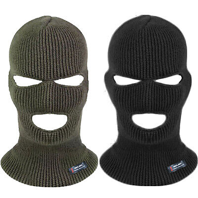 Mens Ladies Unisex 3 Hole Thinsulate Lined Balaclava Face Mask Cover Black Army