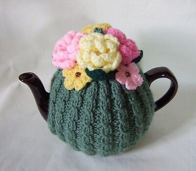Knitted /crochet med tea cosy...Cypress Green.
