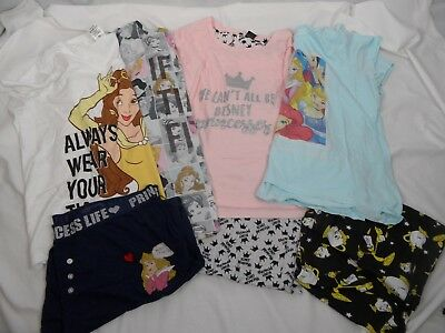 Bundle Of 7 Items Disney Princess Pyjama Pj Tops/bottoms/sets Size Xl 18-20