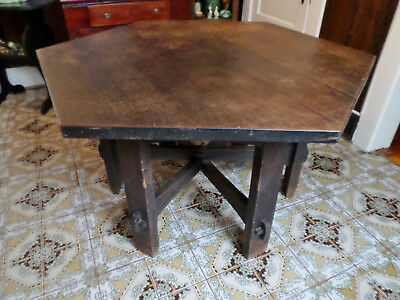 "Rare Signed Gustav Stickley ~ Museum  Piece ~ 55"" Hexagonal Oak Library Table"
