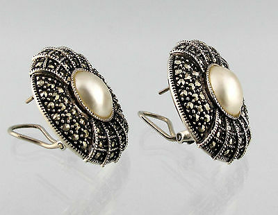 JUDITH JACK JJ Sterling Silver Marcasite Pearl Vtg Clip Stud Post Large Earrings