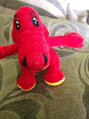 """Red Dinosaur Teddy Cuddly Toy 5"""" tall 7"""" including tail"""