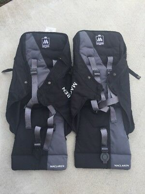 NEW Maclaren Twin Triumph Double Stroller Seats and Harnesses Black FREE Ship