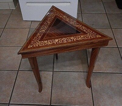 Italian Inlaid Marquetry Table/jewelry Box  With Swiss Reuge Music Box