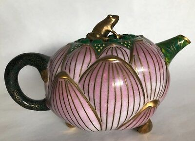 Chinese Cloisonne Enamel Lotus Flower Teapot with Frog Lid