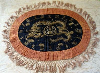 A04 - ANTIQUE CHINESE SILK HAND-EMBROIDERED DRAGON OVAL TABLE or TRAY CLOTH