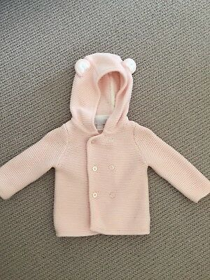 Little White Company Baby Girl Knitted Teddy Cardie / Pram Coat Pink 0-3