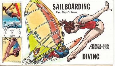 Collins Hand Painted Diving & Sailboarding.