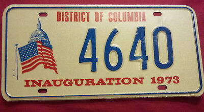 1973 District Of Columbia 4640 Inaugural Inauguration License Plate