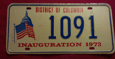 1973 District Of Columbia 1091 Inaugural Inauguration License Plate