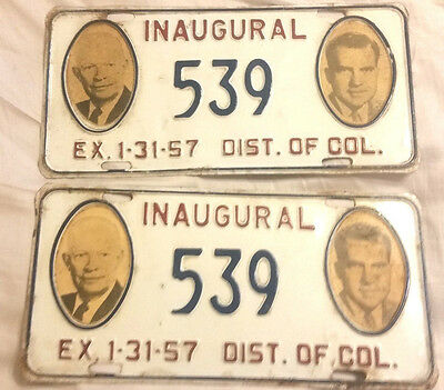 1957 District Of Columbia 539 @@ Pair @@ Inaugural License Plate