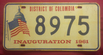 1961 District Of Columbia 8975 Inaugural Inauguration License Plate