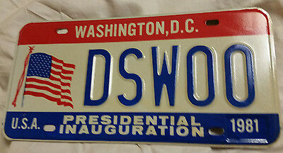 1981 District Of Columbia Dsw00 Inaugural License Plate