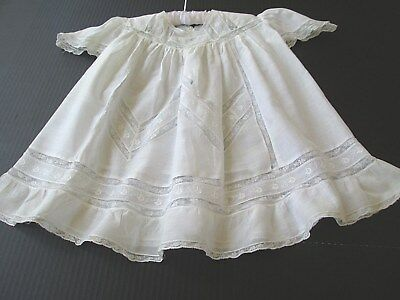 Children's Antique Clothing.. Fine White Lawn & Lace Baby Dress..antique Dolls