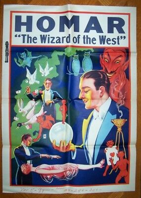 HOMAR - The Wizard of the West Vintage Magic Poster - The Levitation 1920's