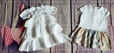 Burberry Baby Girls Designer Clothes Bundle 2 Pretty Romany Dresses 9 months