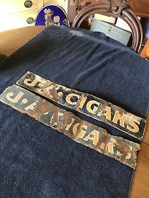 Vtg Early Metal Porcelain J.A Cigars Smoking Tobacco Signs Pair Of 2 Blue USA JA