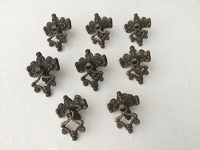 Set Of 8 Antique VTG Ornate Metal Dresser Drawer Pulls-Brass Tone Drawer Handles