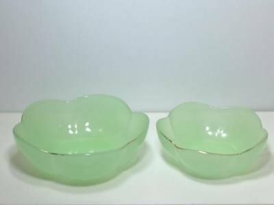 Vintage Green Clambroth  glass bowls